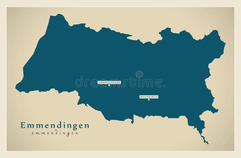 Nowożytna mapa - Emmendingen Baden Wuerttemberg DE okręg administracyjny ilustracja wektor