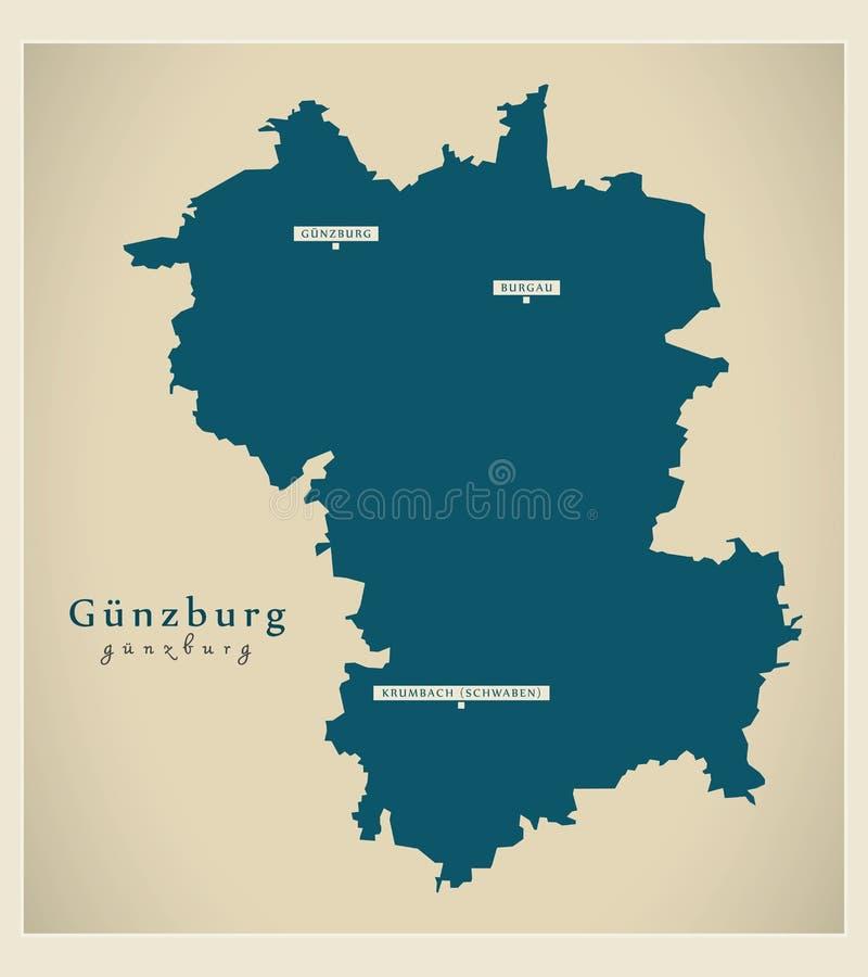Nowo?ytna mapa - Guenzburg Bavaria DE okr?g administracyjny ilustracja wektor