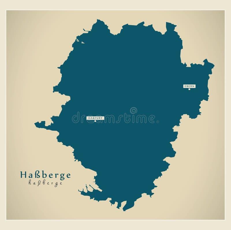 Nowo?ytna mapa - Hassberge Bavaria DE okr?g administracyjny ilustracji
