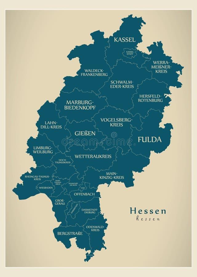 Nowożytna mapa - Hessen Niemcy z okręgami administracyjnymi i etykietkami mapa ilustracji
