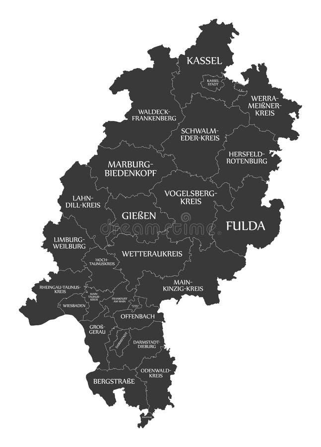 Nowożytna mapa - Hessen mapa Niemcy z okręgami administracyjnymi i etykietki czernimy ilustracji