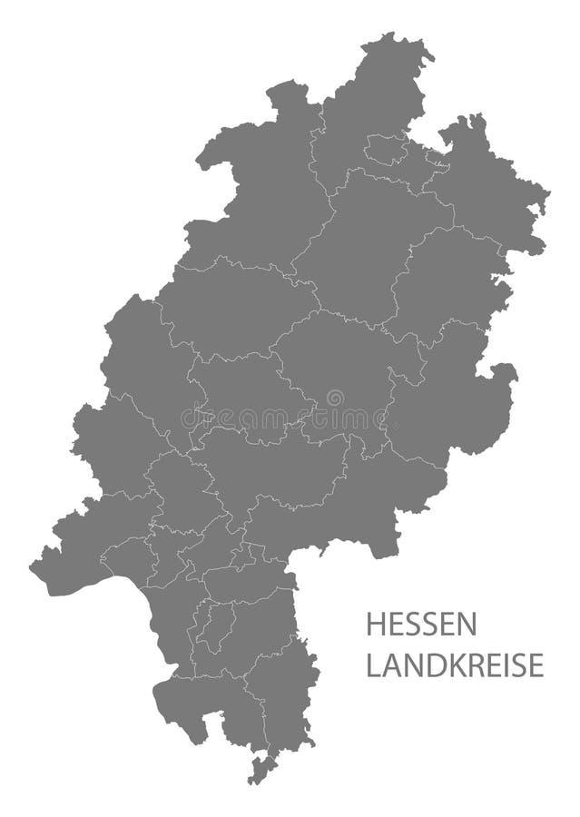 Nowożytna mapa - Hessen Niemcy z okręgami administracyjnymi szarymi mapa ilustracja wektor