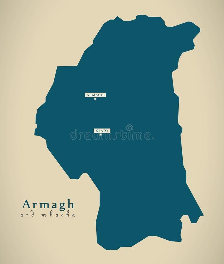 Nowożytna mapa Ireland - Armagh UK Północny - ilustracji