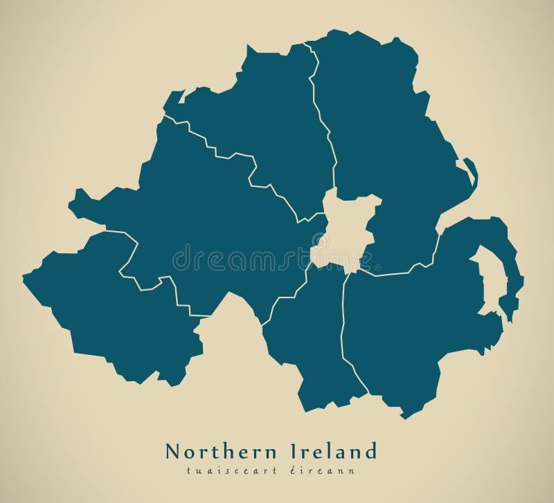 Nowożytna mapa Ireland z okręgami administracyjnymi UK - Północna - ilustracji