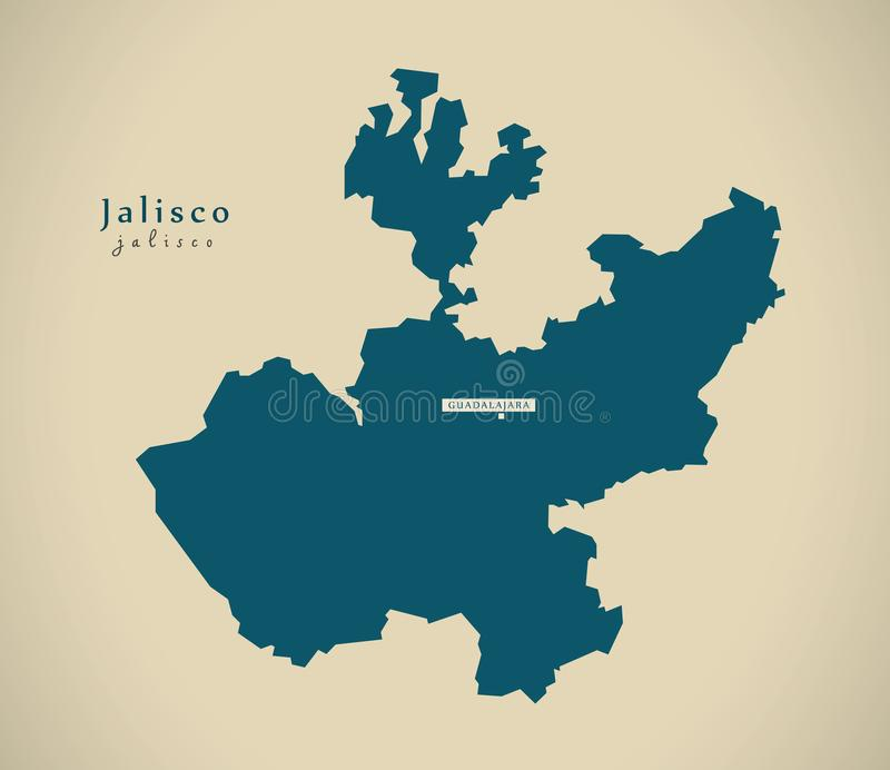 Nowożytna mapa - Jalisco Meksyk MX ilustracji