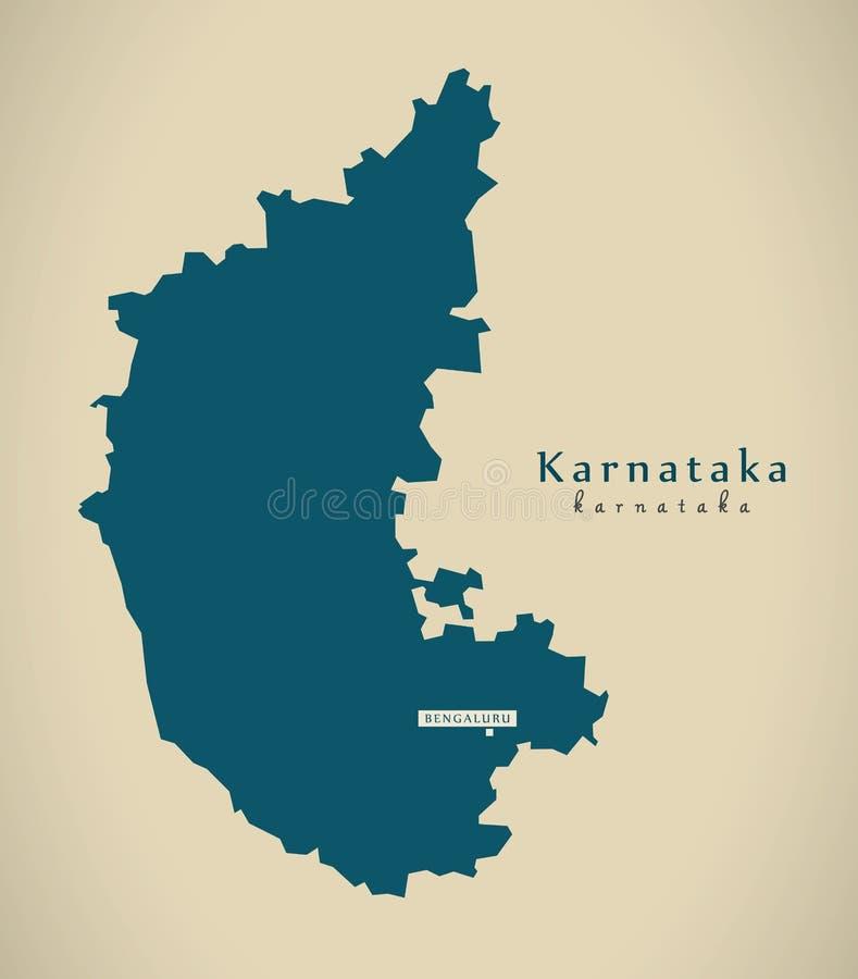 Nowożytna mapa - Karnataka W India państwa federalnego ilustraci royalty ilustracja