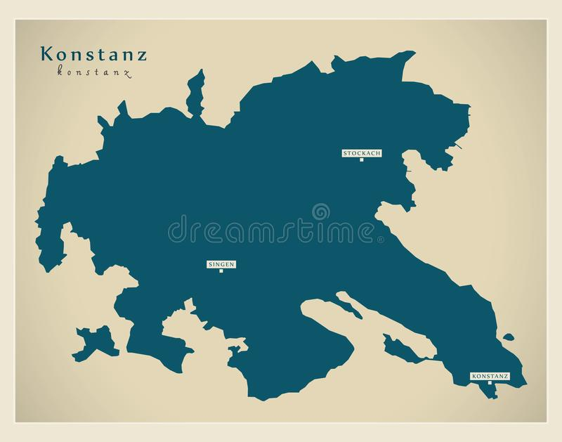 Nowożytna mapa - Konstanz Baden Wuerttemberg DE okręg administracyjny royalty ilustracja