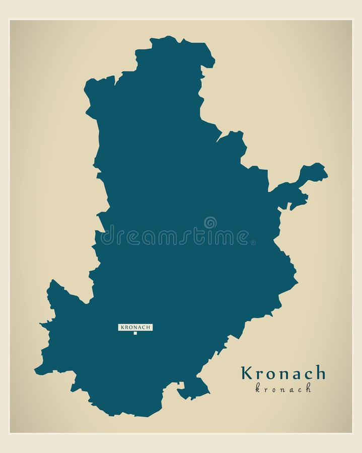 Nowo?ytna mapa - Kronach Bavaria DE okr?g administracyjny ilustracji