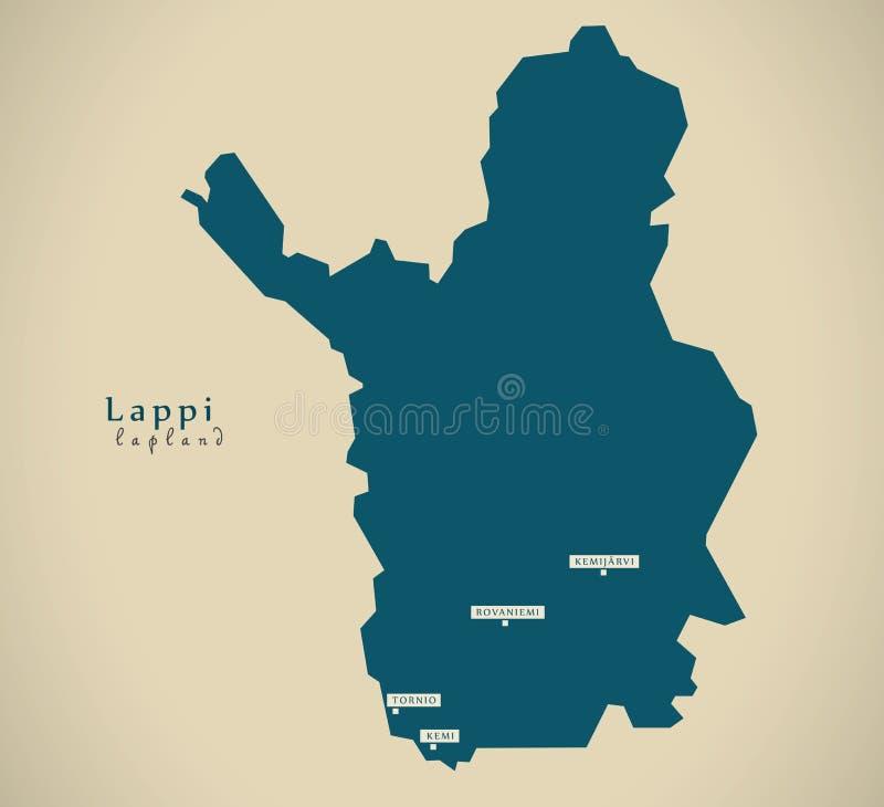 Nowożytna mapa - Lapland Finlandia FI ilustracja wektor