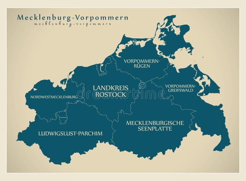 Nowożytna mapa - Mecklenburg Pomerania Zachodnia mapa z okręgami administracyjnymi i etykietkami ilustracja wektor