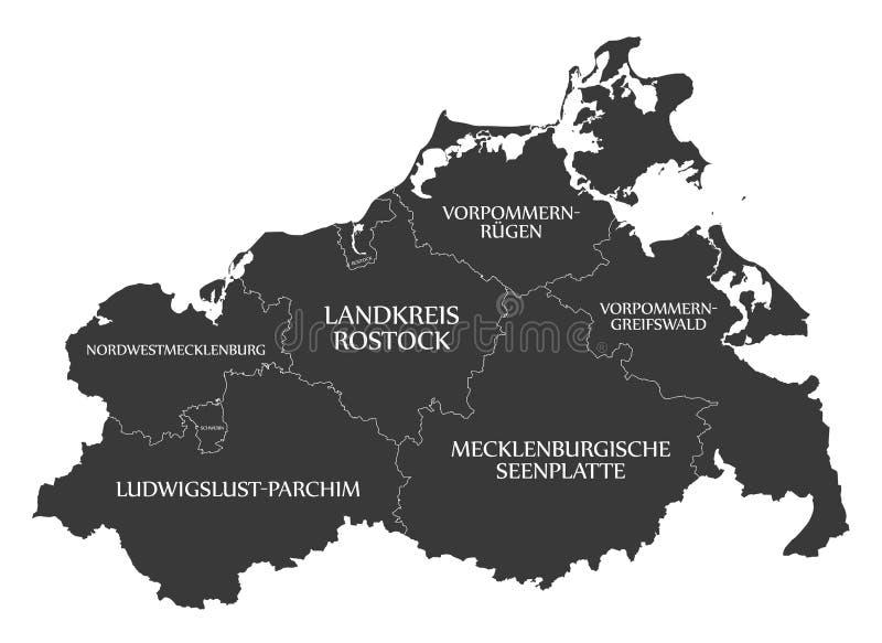 Nowożytna mapa - Mecklenburg Pomerania Zachodnia mapa z okręgami administracyjnymi i etykietki czernimy royalty ilustracja