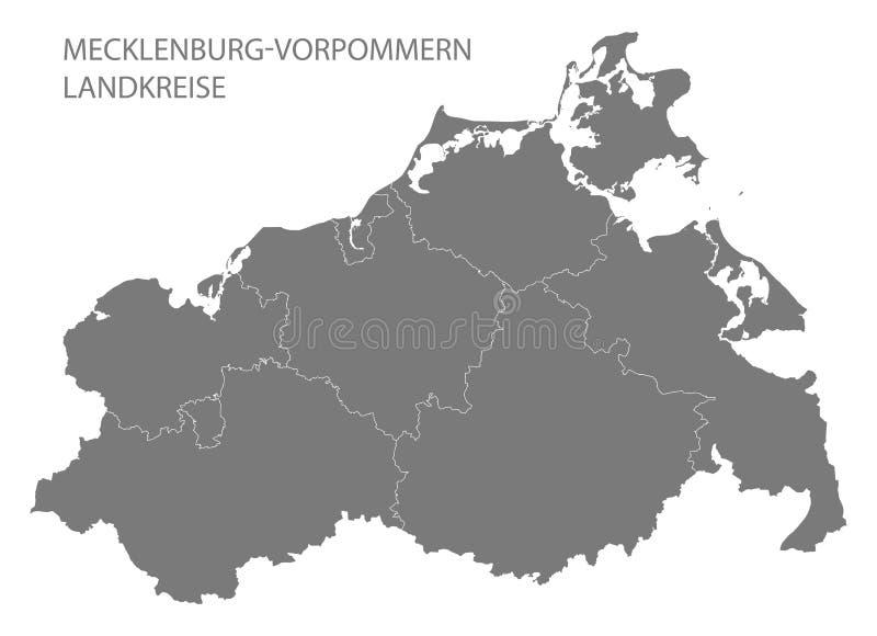 Nowożytna mapa - Mecklenburg Pomerania Zachodnia mapa z okręgami administracyjnymi szarymi royalty ilustracja