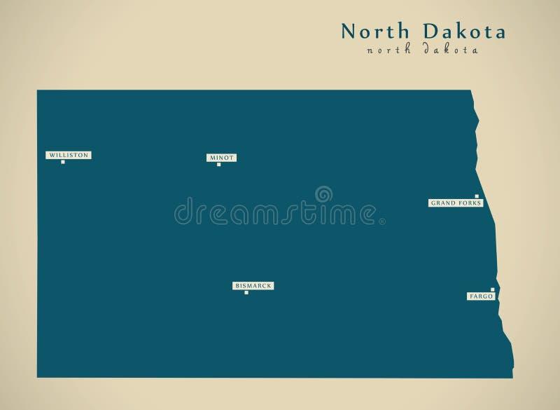 Nowożytna mapa - Północna Dakota usa ilustraci sylwetka royalty ilustracja