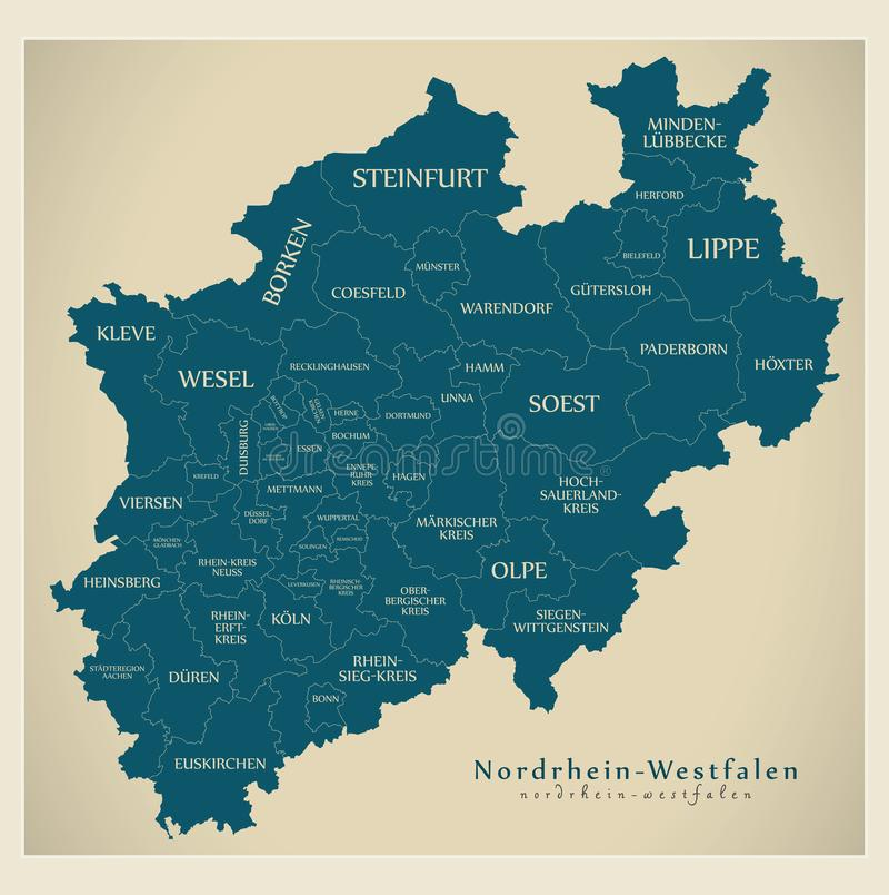 Nowożytna mapa - Północna Westphalia mapa Niemcy z okręgami administracyjnymi i etykietkami ilustracji