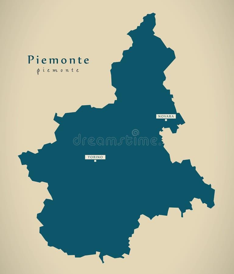 Nowożytna mapa - Piemonte IT Włochy royalty ilustracja