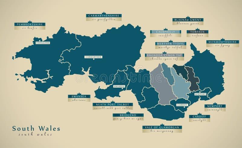 Nowożytna mapa - południowe walie UK royalty ilustracja