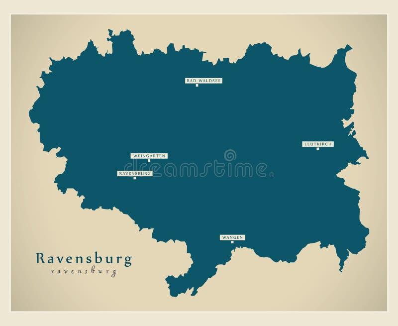 Nowożytna mapa - Ravensburg Baden Wuerttemberg DE okręg administracyjny ilustracji