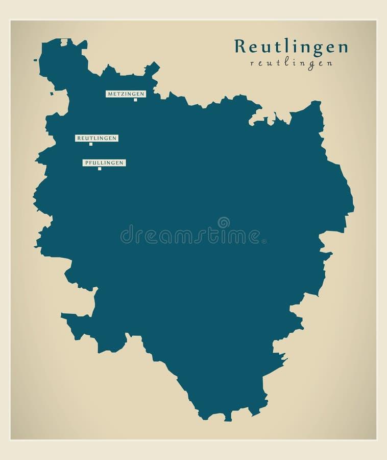 Nowożytna mapa - Reutlingen Baden Wuerttemberg DE okręg administracyjny royalty ilustracja