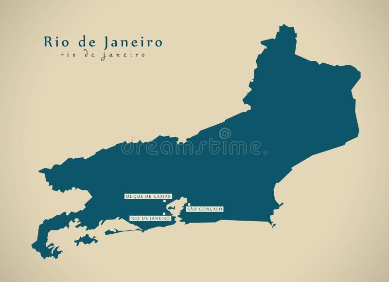 Nowożytna mapa - Rio De Janeiro BR Brazylia royalty ilustracja
