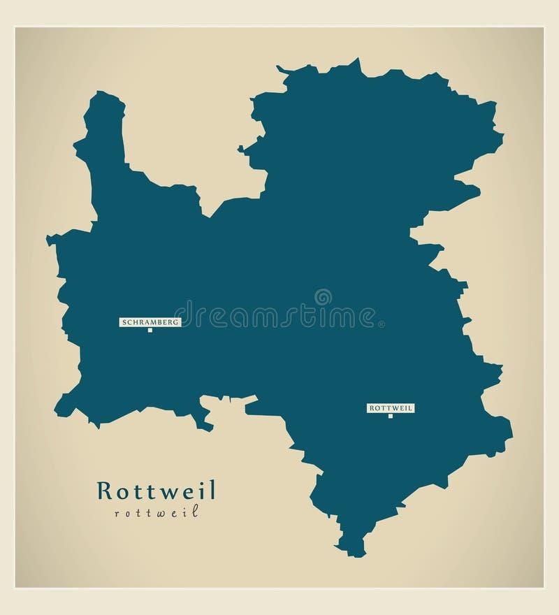 Nowożytna mapa - Rottweil Baden Wuerttemberg DE okręg administracyjny ilustracja wektor