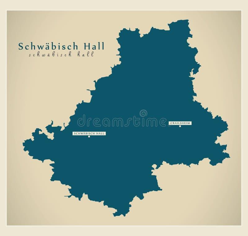Nowożytna mapa - Schwaebisch Hall Baden Wuerttemberg DE okręg administracyjny ilustracja wektor