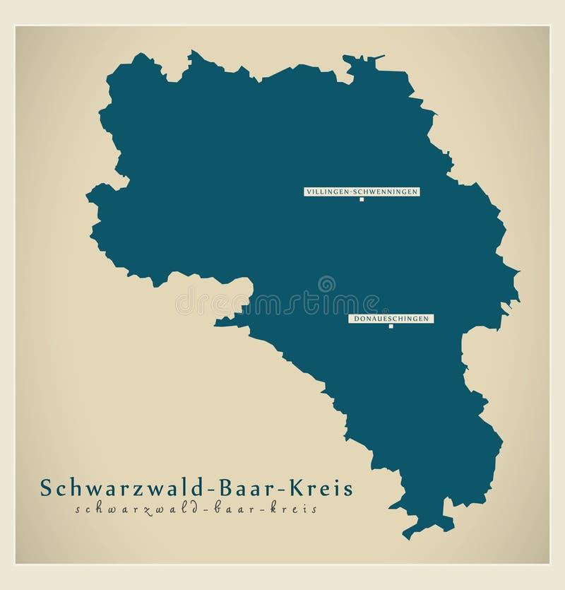 Nowożytna mapa - Schwarzwald-Baar-Kreis Baden Wuerttemberg DE okręg administracyjny ilustracji