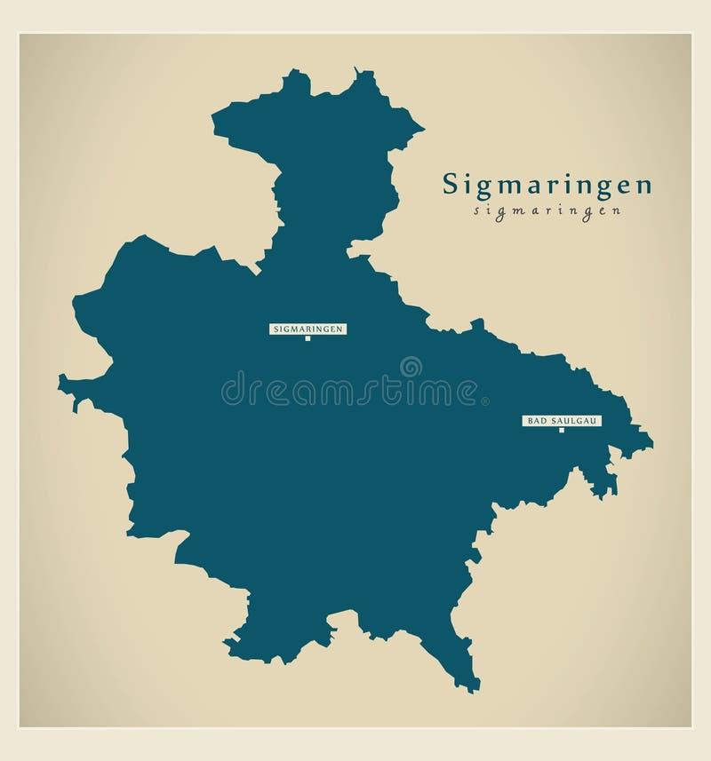 Nowożytna mapa - Sigmaringen Baden Wuerttemberg DE okręg administracyjny ilustracji