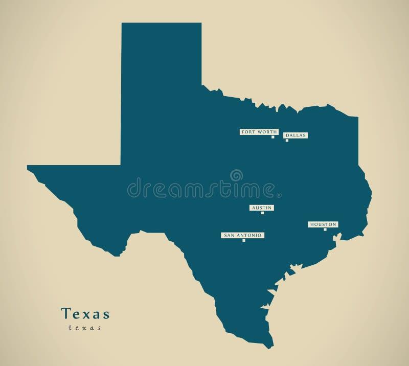 Nowożytna mapa - Teksas usa ilustraci sylwetka royalty ilustracja