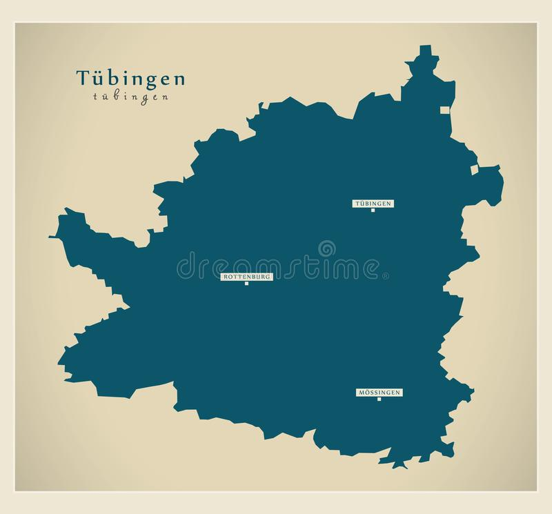 Nowożytna mapa - Tuebingen Baden Wuerttemberg DE okręg administracyjny ilustracji