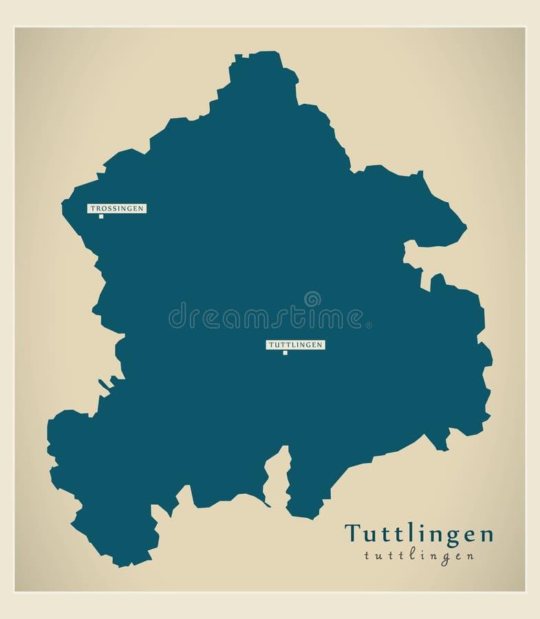 Nowożytna mapa - Tuttlingen Baden Wuerttemberg DE okręg administracyjny ilustracja wektor