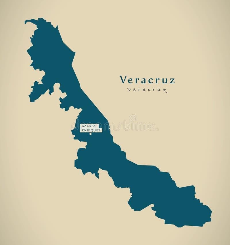 Nowożytna mapa - Veracruz Meksyk MX ilustracja wektor