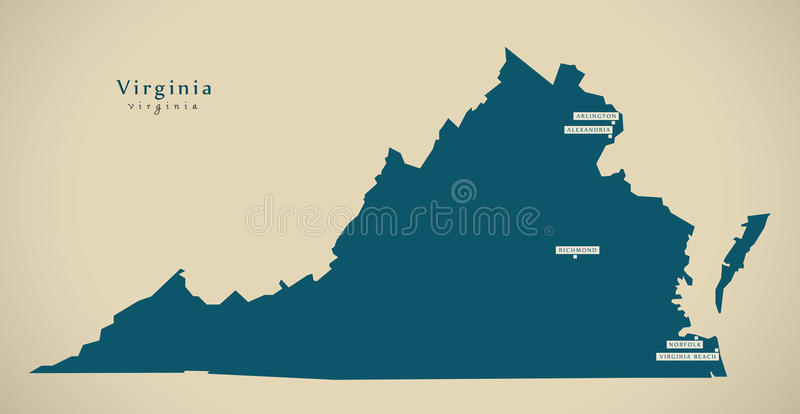 Nowożytna mapa - Virginia usa ilustracja ilustracja wektor