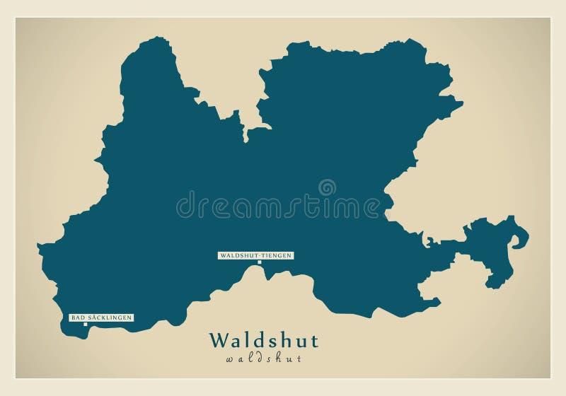 Nowożytna mapa - Waldshut Baden Wuerttemberg DE okręg administracyjny ilustracji