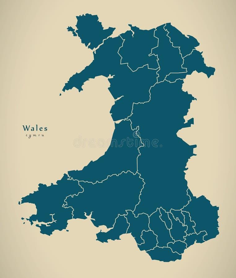 Nowożytna mapa - Walia z regionami UK royalty ilustracja