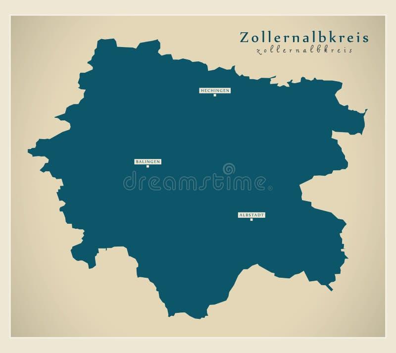 Nowożytna mapa - Zollernalbkreis Baden Wuerttemberg DE okręg administracyjny ilustracji