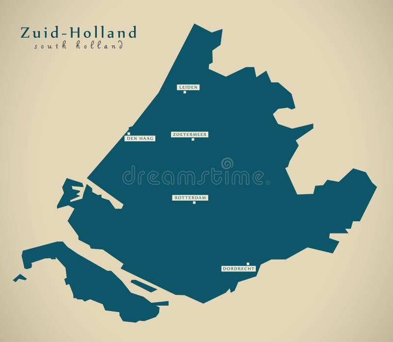 Nowożytna mapa - Zuid Holandia NL ilustracja wektor