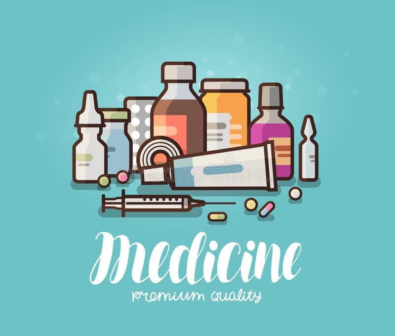 Nowożytna medycyna, apteka sztandar Lekarstwo, pigułki, butelki, farmaceutyki pojęcie obcy kreskówki kota ucieczek ilustraci dach ilustracji
