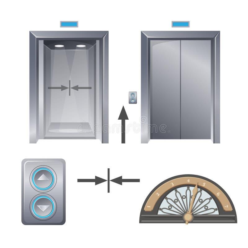 Nowożytna metal winda z guzikami i dekoracyjną częścią ilustracji