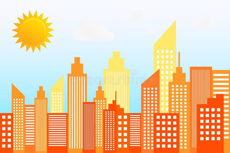 Nowożytna miasto drapaczy chmur linia horyzontu Na słonecznym dniu ilustracji