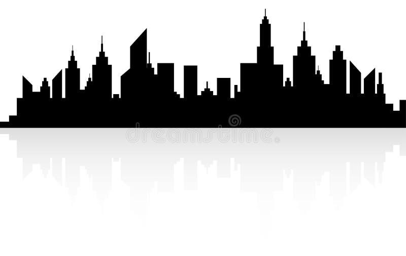 Nowożytna miasto drapaczy chmur linii horyzontu sylwetka royalty ilustracja