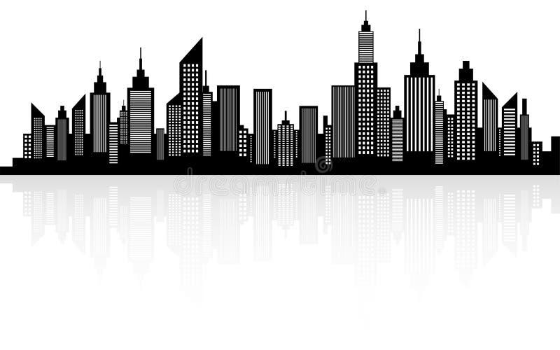 Nowożytna miasto drapaczy chmur linii horyzontu sylwetka ilustracja wektor