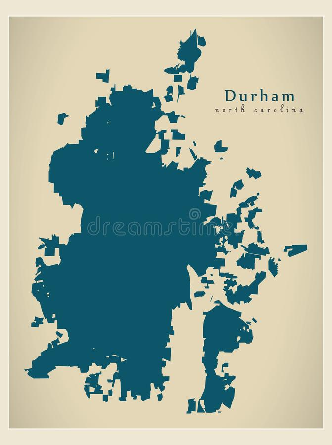 Nowożytna miasto mapa - Durham Pólnocna Karolina usa miasto ilustracja wektor