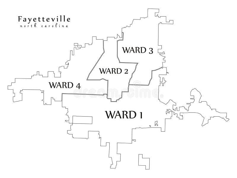 Nowożytna miasto mapa - Fayetteville Pólnocna Karolina usa z oddziałów i tytułów konturu mapą miasto ilustracji