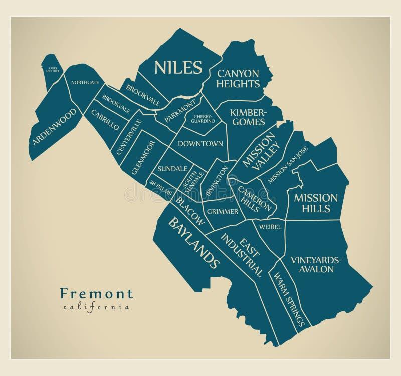 Nowożytna miasto mapa - Fremont Kalifornia usa z sąsiedztwami i tytułami miasto royalty ilustracja
