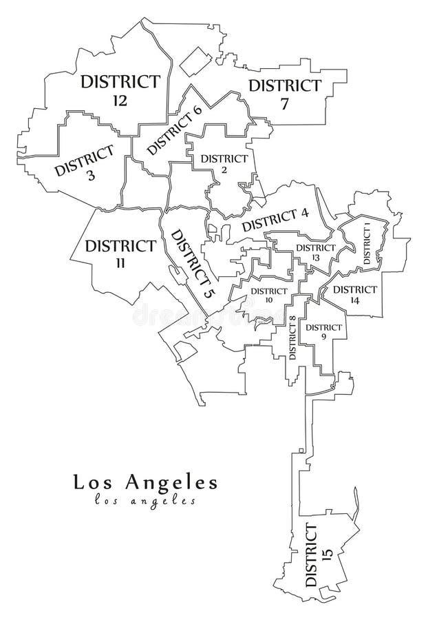 Nowożytna miasto mapa - Los Angeles usa z podgrodziami miasto i royalty ilustracja