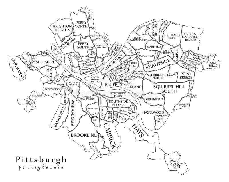 Nowożytna miasto mapa - Pittsburgh Pennsylwania usa z n miasto royalty ilustracja