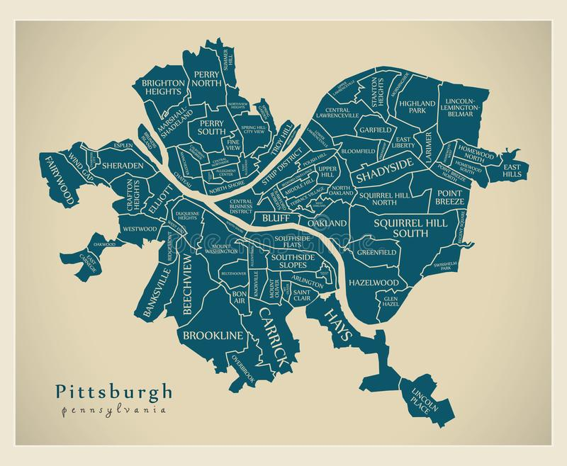 Nowożytna miasto mapa - Pittsburgh Pennsylwania usa z n miasto ilustracja wektor