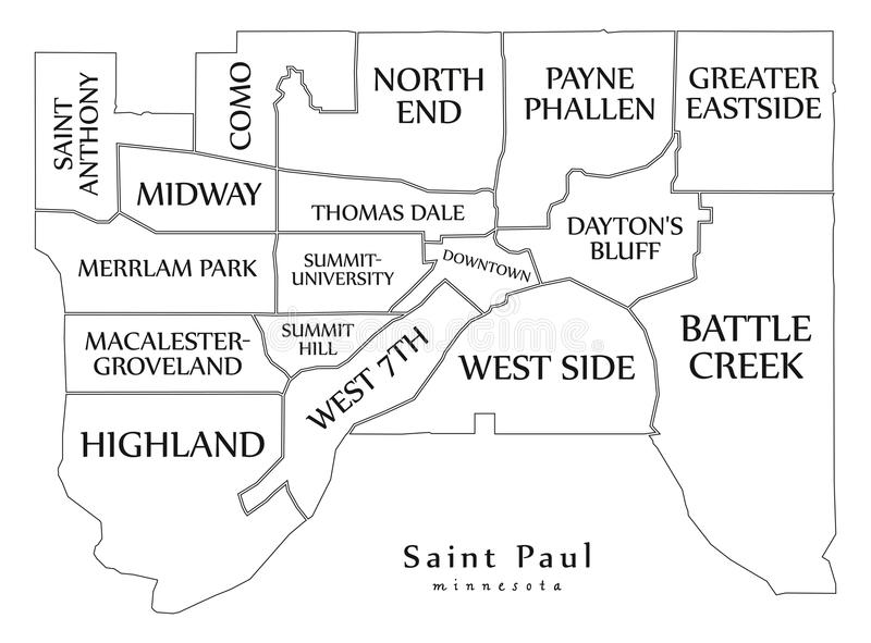 Nowożytna miasto mapa - Saint Paul Minnestoa usa z neig miasto ilustracji