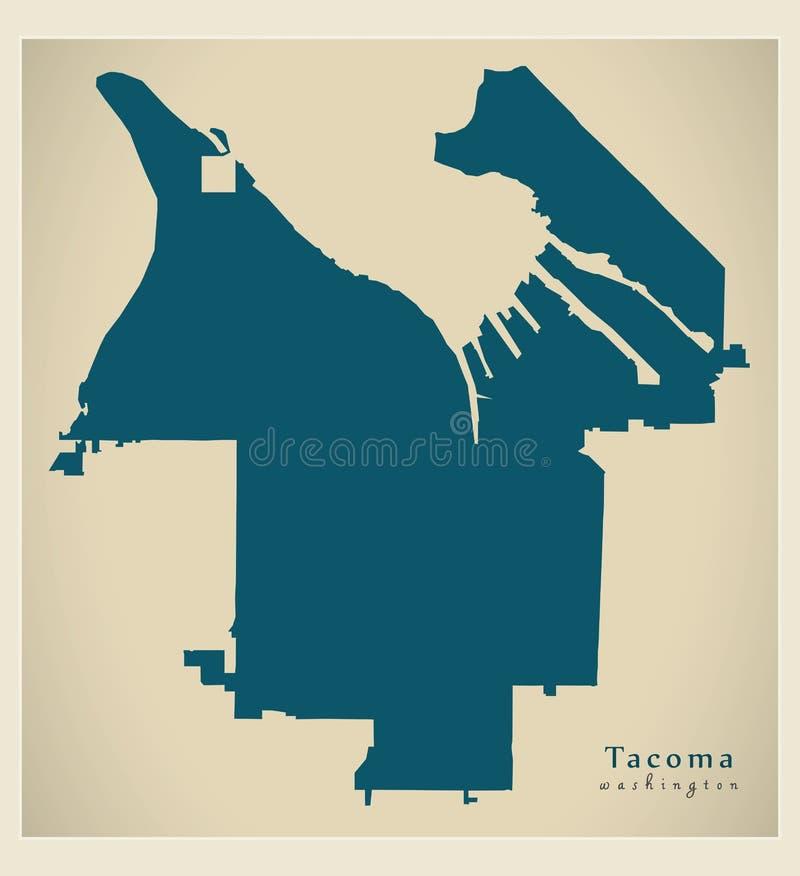 Nowożytna miasto mapa - Tacoma Waszyngtoński usa miasto royalty ilustracja