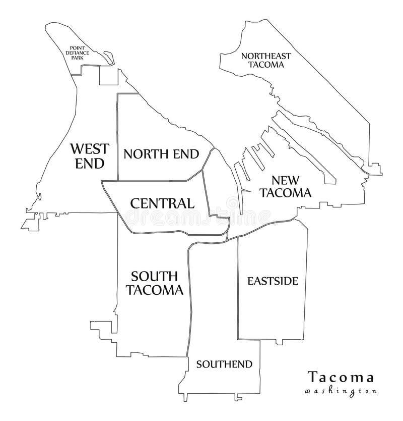 Nowożytna miasto mapa - Tacoma Waszyngtoński usa z sąsiedztw i tytułów konturu mapą miasto royalty ilustracja